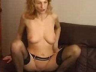 Sexy Busty Blonde Mature With Stockings..
