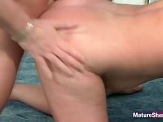 Cock in matured hairy pussy.