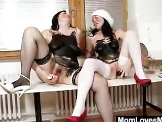 Madam brunettes fuck their pussy plus..