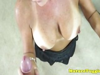 Glam tanlined cougars closeup pov..
