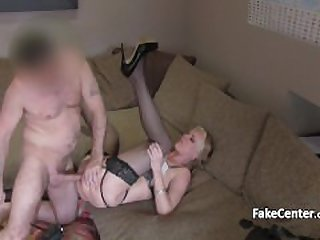Mature blond masturbates on casting