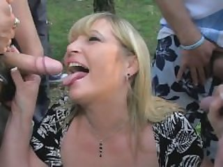 Blond Mature Gang bang