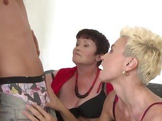 Three lusty matures sharing a hung stud