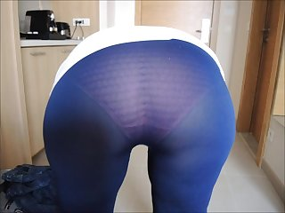 My lady's seethru tights! Her ass..