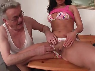 old pervert with young brunette