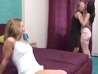 Granny MILF and Teen in Threesome