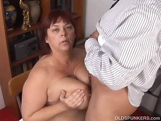 Super sexy busty old spunker gives a..