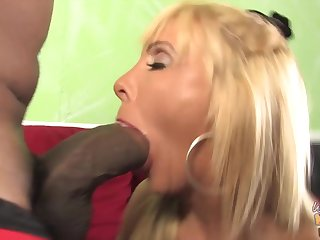 Perfect mature busty mom fucks two BBCs