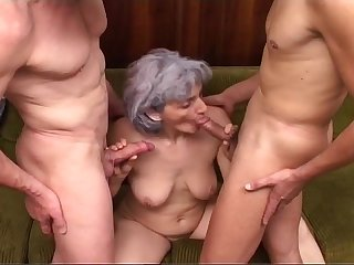 Grey-haired Granny Gets Blasted By Pair..