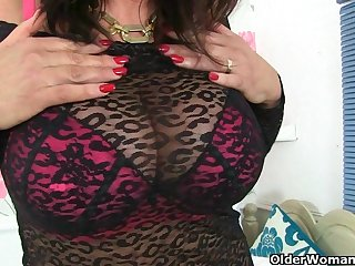 Busty British milfs in stockings love..