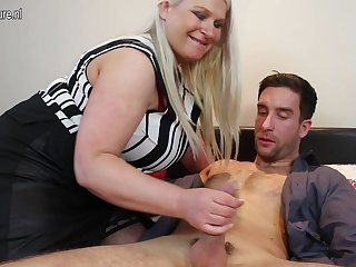 Huge breasted English mama fucking and..