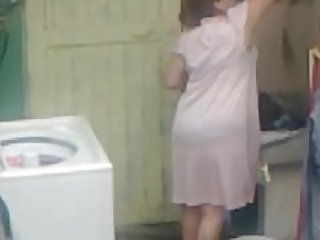 Spying Aunty Ass Washing ... Big Butt..