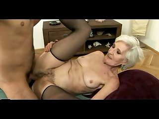 Grey Haired Granny in Stockings Gets Cum..