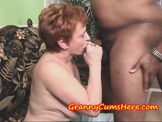 Granny Swallows load and then SUCKS out..