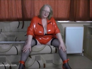 Doing the dusting in my red PVC