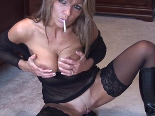 Mature solo smoking