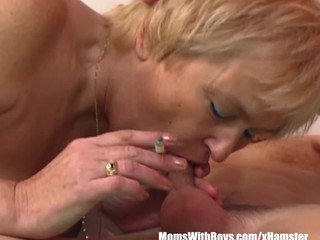 Mature Blonde Mama Sucks Young Cock..