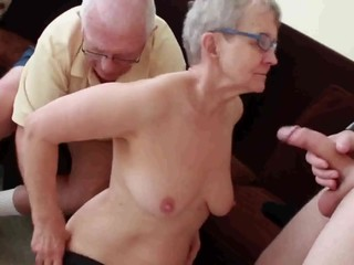 Granny & Husband Invite a Young Stud..