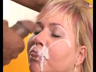 Mature blonde slut gets excellent BBC..