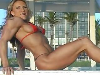 lisa bickels flexing in red bikini